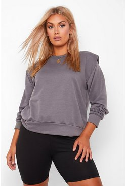 Charcoal grey Plus Shoulderpad Sweat