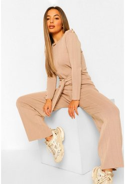 Beige Petite Rib Knitted Top and Wide Leg Trouser Co-Ord