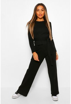Black Petite Rib Knitted Top and Wide Leg Trouser Co-Ord