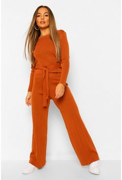 Rust orange Petite Rib Knitted Top and Wide Leg Trouser Co-Ord