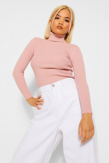 Pink Petite Rib Knitted Roll Neck Jumper