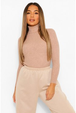 Beige Petite Rib Knitted Roll Neck Jumper