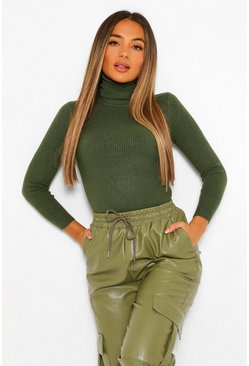 Khaki Petite Rib Knitted Turtleneck Sweater