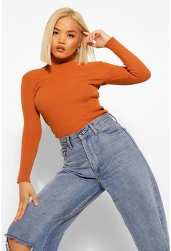 Rust orange Petite Rib Knitted Roll Neck Jumper
