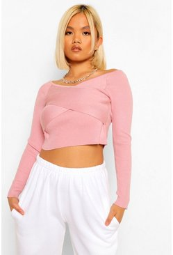 Blush pink Petite Wrap Front Crop Knitted Jumper