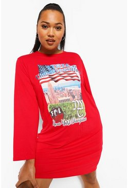 Red Plus Basket Ball Long Sleeve T-shirt Dress
