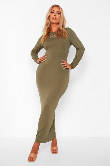 Khaki Plus Long Sleeve Maxi Dress