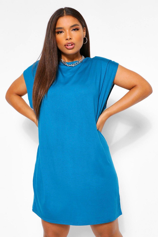 Plus Shoulder Pad T-shirt Dress 19