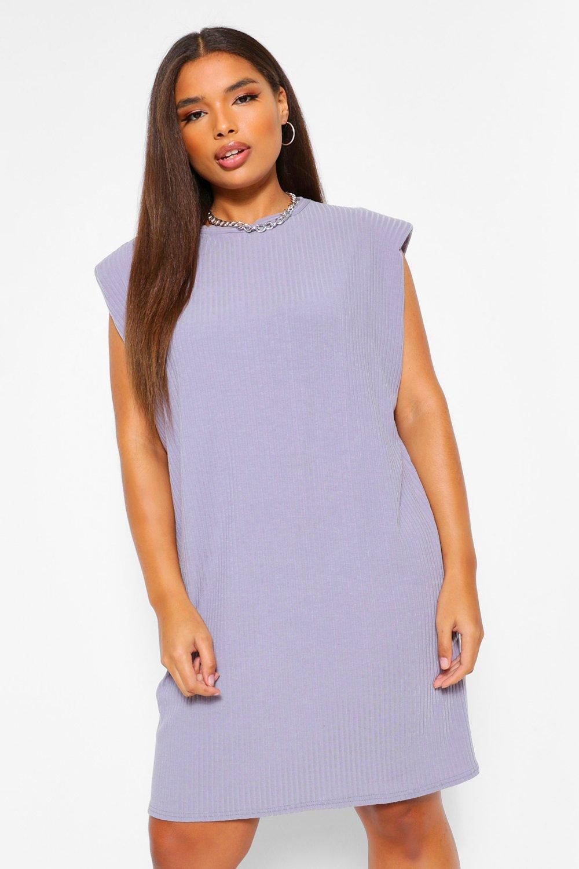 Plus Ribbed Shoulder Pad T-shirt Dress 16