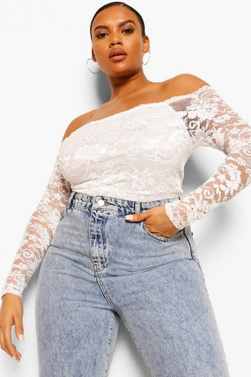 Ivory white White Plus Lace Bardot Bodysuit