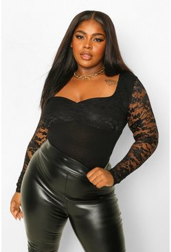 Black Plus Lace Sweetheart Ruched Bodysuit