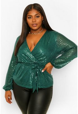 Emerald Plus Sequin Longsleeve Wrap Belted Top