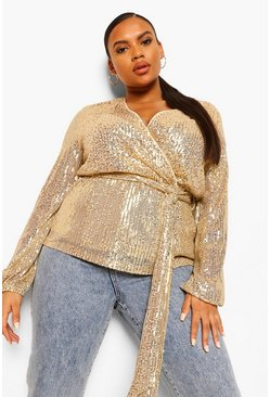Gold Plus Sequin Longsleeve Wrap Belted Top