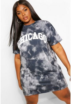 Black Plus Tie Dye Chicago T-Shirt Dress