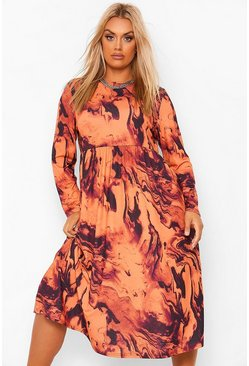 Rust orange Plus Marble Print Ruffle Midi Smock Dress