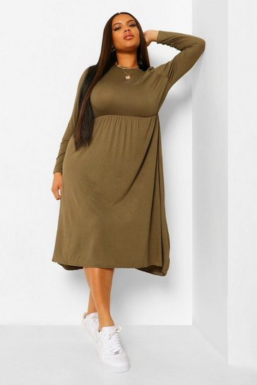 Khaki Plus Long Sleeve Midi Smock Dress