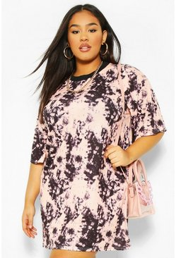 Plus Tie Dye  T-Shirt Dress , Blush rose