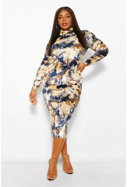 Navy Plus Tie Dye Velvet Roll Neck Midi Dress