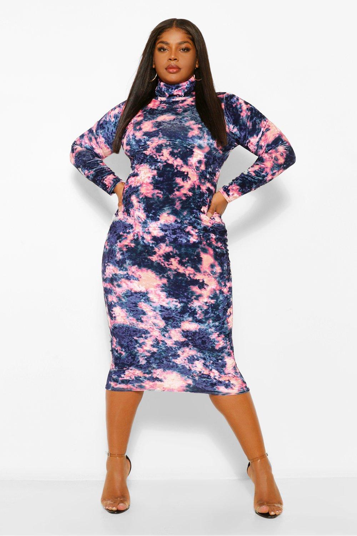 Plus Tie Dye Velvet Roll Neck Midi Dress 17
