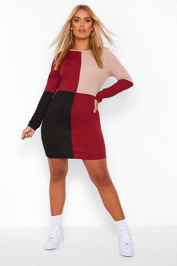 Berry red Plus Colour Block Bodycon Dress