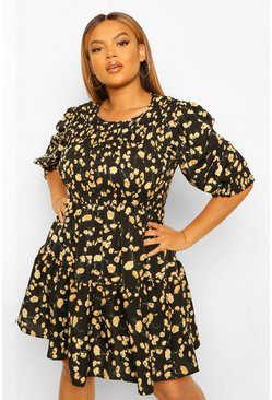 Black Plus Floral Shirred Smock Dress