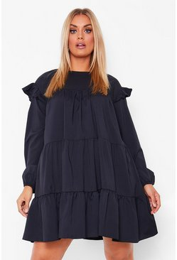Black Plus Long Sleeve Tiered Ruffle Smock Dress