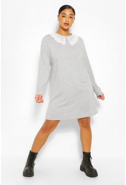 Grey Plus Jersey Collar T-Shirt Dress