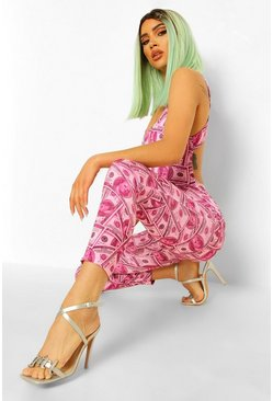 Pink Petite Money Print Cut Out Detail Jumpsuit