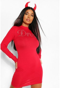 Red Petite Angel and Devil Diamante Bodycon Dress