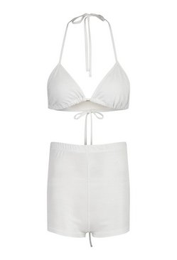 Silver Petite Glitter Bralet and Hot Pants Co-Ord