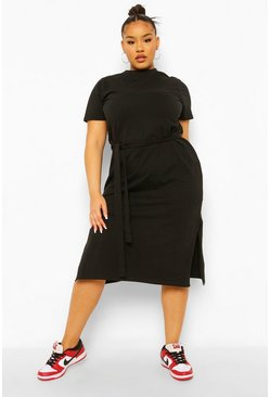 Black Plus Self Belted High Neck Midi Dress