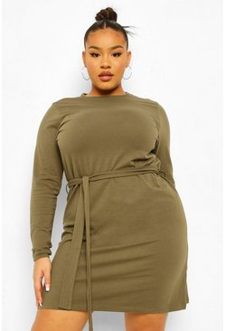 Khaki Plus Self Belted Jersey Swing Dress