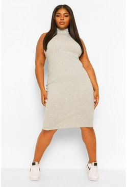 Grey marl grey Plus High Neck Rib Midi Dress