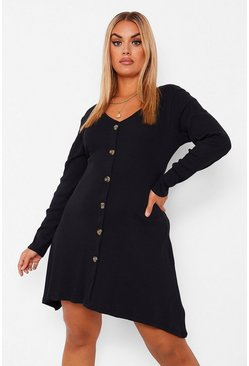 Black Plus Button Front Rib Swing Dress