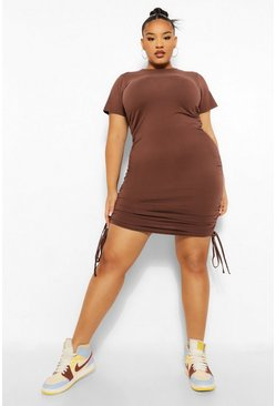 Chocolate brown Plus Ruched Detail Bodycon Dress