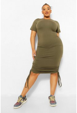 Khaki Plus Ruched Detail Bodycon Dress