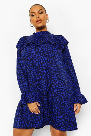 Black Plus Spot Print Ruffle Smock Dress