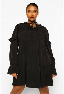 Black Plus Ruffle Tie Neck Smock Dress