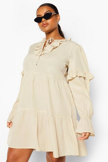 Stone beige Plus Ruffle Tie Neck Smock Dress