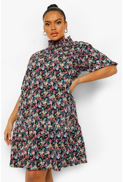 Multi Plus Floral High Neck Smock Dress