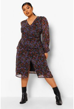 Black Plus Floral Ruched Puff Sleeve Midi Dress