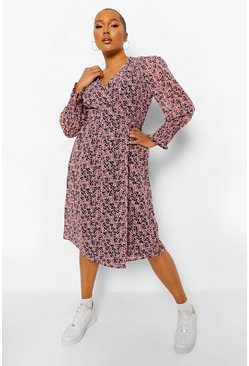 Pink Plus Ditsy Floral Puff Sleeve Wrap Midi Dress