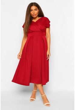 Berry Plus Off The Shoulder Wrap Midi Dress