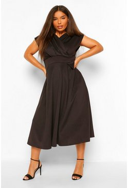 Plus Off The Shoulder Wrap Midi Dress, Black noir