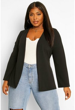 Black Plus Collarless Belted Blazer