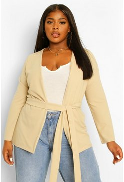 Stone beige Plus Collarless Belted Blazer