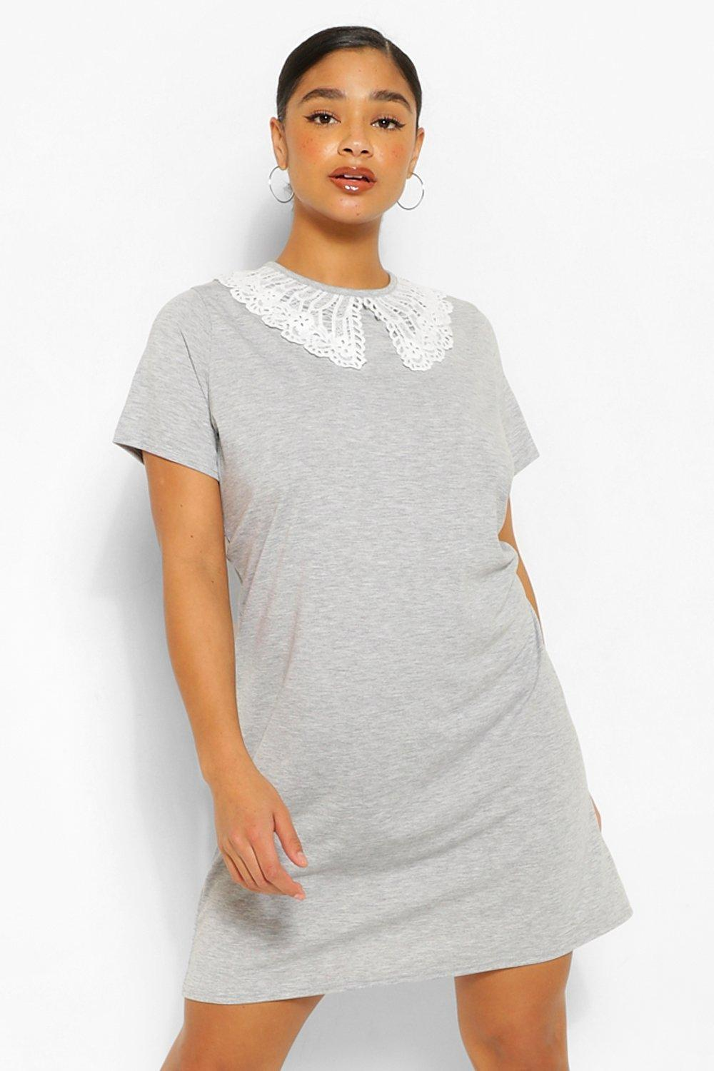 Plus Collar Detail T-Shirt Dress 11
