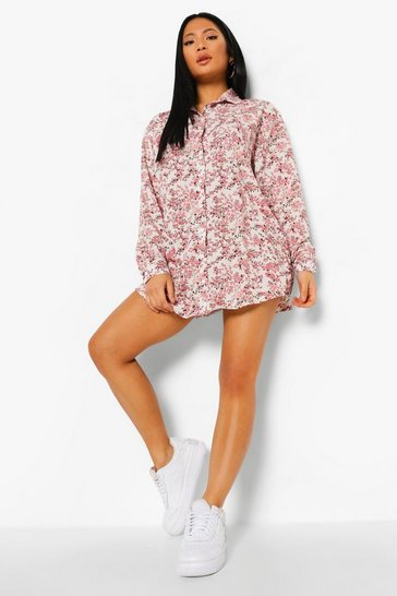 Rose pink Plus Ditsy Floral Shirt Dress