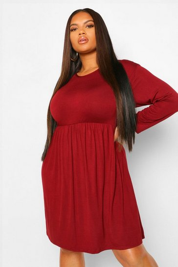 Berry red Plus Basic Long Sleeve Smock Dress