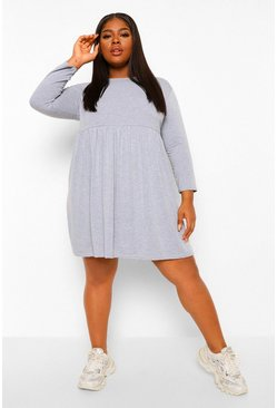 Grey Plus Basic Long Sleeve Smock Dress